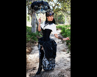Ready to ship 3 PC Black SATIN Corset with Silver Double Bustle Skirt, Steampunk, Victorian, Cosplay, Costume, Dress