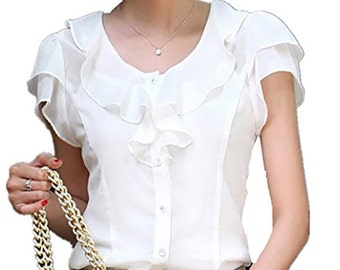 Blouse Shirt Steampunk Victorian white. Chiffon.  Buttons. Halloween Cosplay
