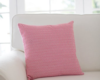 Herringbone Cushion Cover - Coral Pink