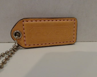 Coach Leather Hangtag Natural Vachetta and Pink