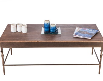 Coffee Table with Fenial Legs and Rustic Wood Top