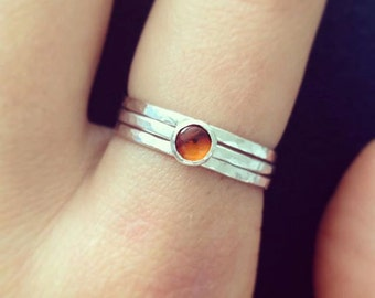 Amber ring, Silver Amber ring, Silver stackable rings, UK sellers only