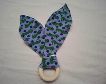 Bunny ear teether, Organic wooden teething ring, crocodile teething ring
