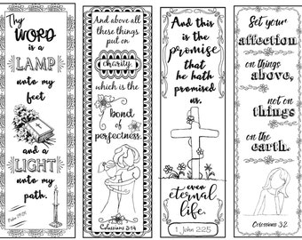 Bible Verse Bookmarks B/W Color Your Own Print and Cut