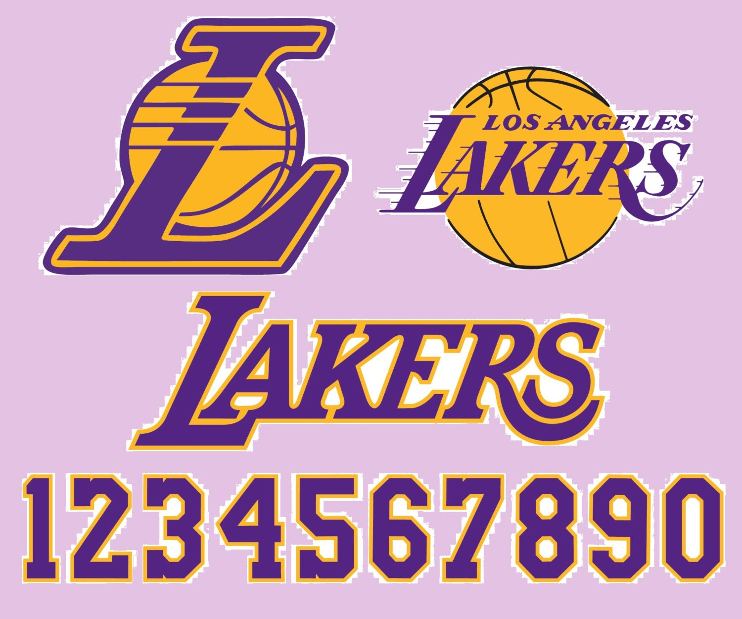 Los Angeles Lakers Basketball Logo Numbers By SVGsilhouetteDXF