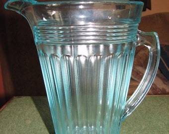 Art Deco Sowerby water jug in blue glass
