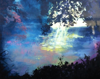 High energy healing painting, Forrest lake wit light reflections on the water. impressionistic