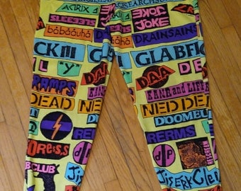 Stephen Sprouse 1980's rock band stickers neon print leggings.