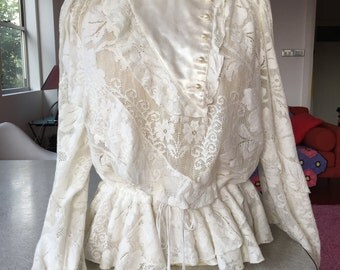 1980s Adele Palmer white lace look shirt / top - Size 10