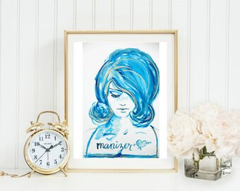 Watercolor Painting // Blue Girl Manizer //