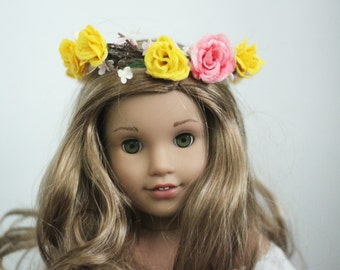 Homemade American girl doll pink, yellow and white flower crown
