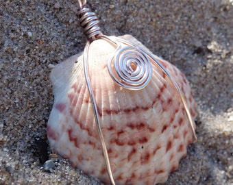 Pink and Wine Varigated Seashell Rose Gold Wire Wrapped Pendant Necklace, Beach Theme Shell Necklace, Rose Gold Jewelry, Gift for Her