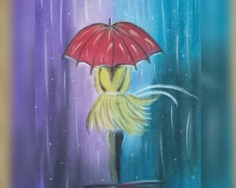 Lady In The Rain (pastel drawing)