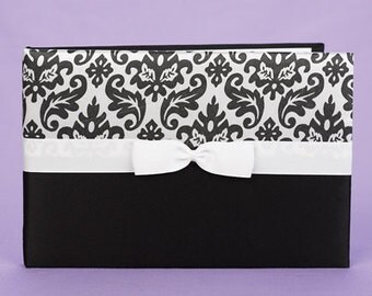 Black & White Damask Wedding Reception Guest Book and Pen Set