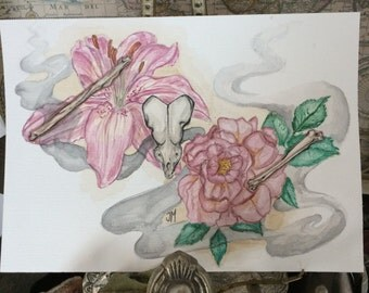 Original Watercolour Painting * Bones, Skull And Flowers *