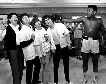 The Beatles and Muhammed Ali Boxing Sport Music Glossy Photo Promo Picture Print