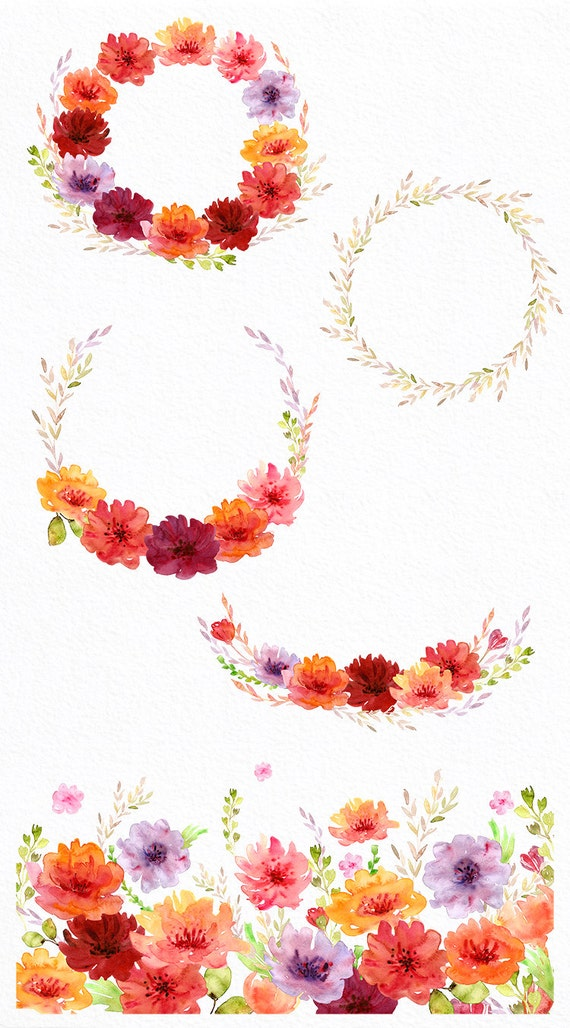 Sunny Flowers Watercolor Clipart Commercial Use Wreath