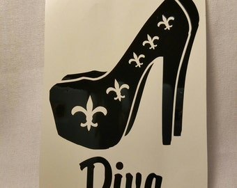 Fleur De Lis Shoe Diva Vinyl Decal