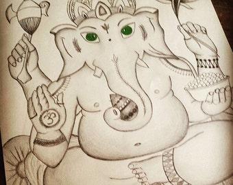 Large Ganesh hand drawn by pencil