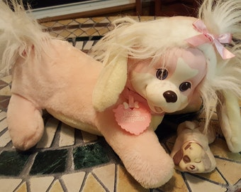 Puppy Surprise 1 baby pup Mother has pink body white hair pink bow, baby pup is brown and pink, original tag