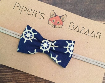 Nautical Bow Tie Fabric Baby Infant Toddler Headbands