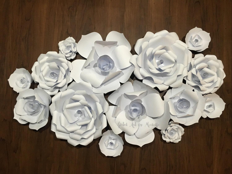 Paper Flowers Backdrop White Paper Flower Wall Paper Flower