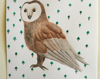 Watercolor Owl with Tree Pattern