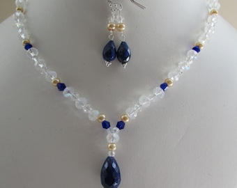 Lapis Lazuli, Glass, Glass Pearl Sterling Silver Necklace, Earrings Set