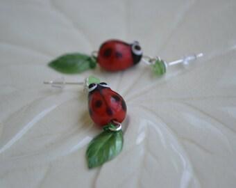 Ladybug dangle earrings on sterling ear studs