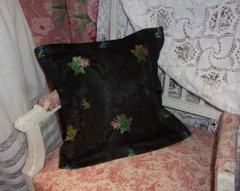 A cushion made in a beautiful 19 th, patterns of roses woven silky fabric