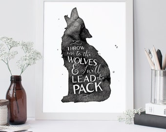 Throw Me To The Wolves Printable, Quote, Art Print, Typographic Print, Wall Art, Typography, Encouraging Wall Art, Printable Poster