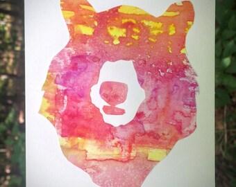 Black Bear Greeting Card - VT - Handmade - Original Watercolor - Paper Cutout