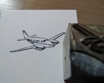 Vintage Zinc/Lead printing block -Airplane