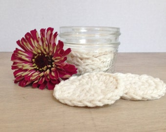 Crochet Cotton Face Scrubbies  With Jar -- Set of 5