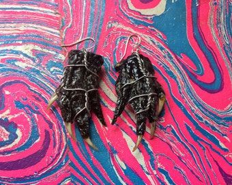 Alligator hands taxidermy earrings