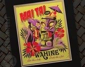 Double deluxe matted Mai Tai Pha Wahine, Tiki Design, Tiki Decor, Hula Girl, Hawaiian Art, On Island Time, Bar Signs, Jeff Granito