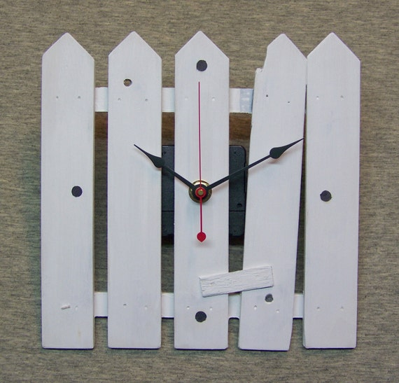 """Weathered White Fence 7.5"""" Wood Wall Clock"""