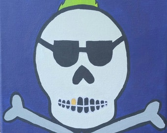 Punk rock sugar skull//sunglasses//gold tooth//acrylic & canvas//PRINT