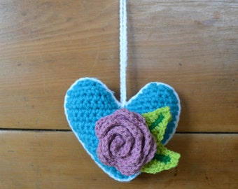 Crochet heart with rose and petals/Shabby chic/Hanging decoration/Stuffed crochet heart
