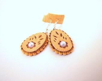 Original earrings made of birch bark Handmade