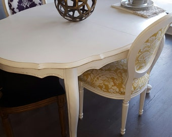 French Provincial dining table chalk painted white w/ distressing