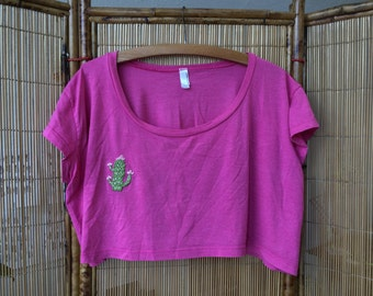 Friendly cactus hand embroidered cropped super soft tee