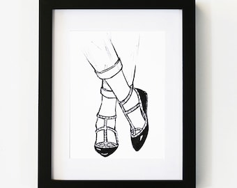 Valentino Flats Print, Valentino, Fashion Art, Illustration Art Print, Room decor, Gifts For Her, Wall Art, Poster