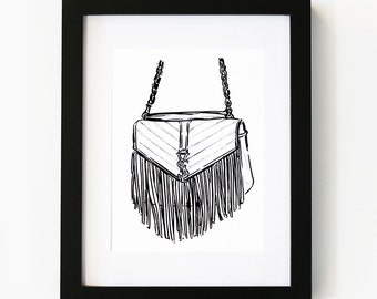 YSL Fringed Satchel print, YSL, Luxury, Illustration Art Print, Room decor, Gifts For Her, Wall Art, Poster