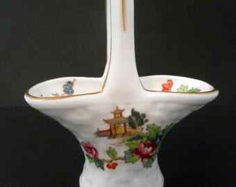 Crown Staffordshire Bone China Pagoda Basket