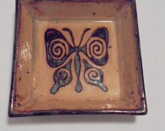Vintage Stoneware Butterfly Tray