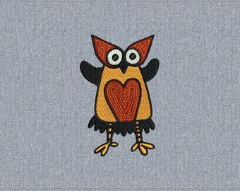 04 - Owl - Machine embroidery design - 2 sizes for instant download