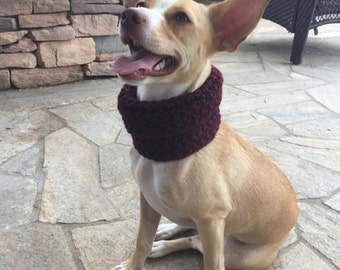 Maroon Knitted Circle Scarf, for Small Dogs
