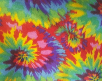 Multi Color Tie Dye Fleece Fabric by the yard