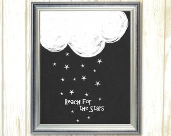 Reach For The Stars, Printable Nursery art, Black and white Cloud and Star, Baby Nursery decor, Children's Printable, kids room Decor